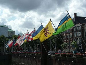Flags of all Provinces at the Binnenhof in The Hague