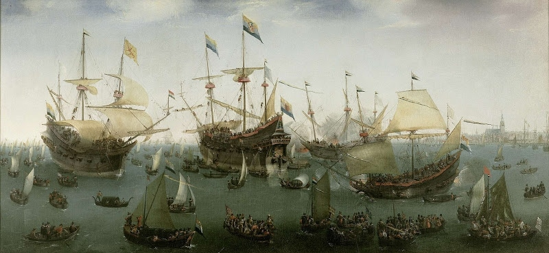 The return to Amsterdam of the Second Expedition to the East Indies, Hendrik Cornelisz Vroom, 1599